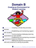 domain b creating an environment for student learning
