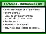 lectores bibliotecas uv