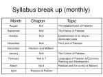 syllabus break up monthly