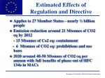 estimated effects of regulation and directive