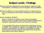 subject levels findings