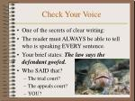check your voice