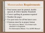 memorandum requirements