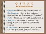 q s f a c information memo