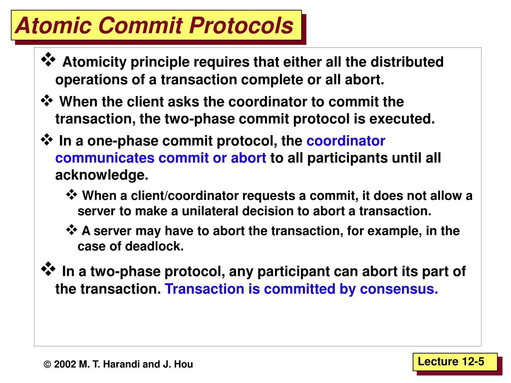 Atomic Commit Protocols