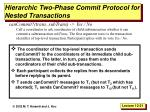 hierarchic two phase commit protocol for nested transactions