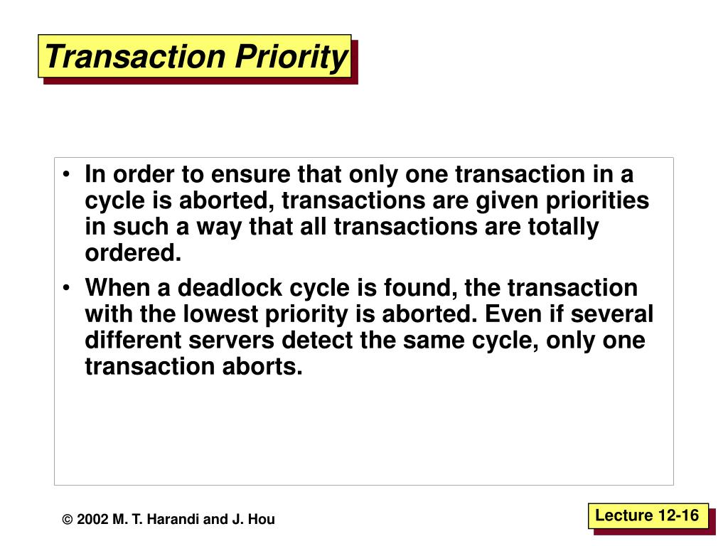 Transaction Priority