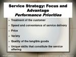 service strategy focus and advantage performance priorities