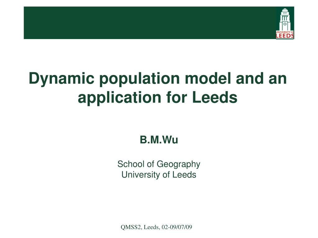 dynamic population model and an application for leeds l.