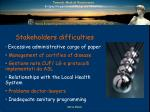 stakeholders difficulties
