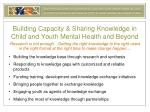 building capacity sharing knowledge in child and youth mental health and beyond