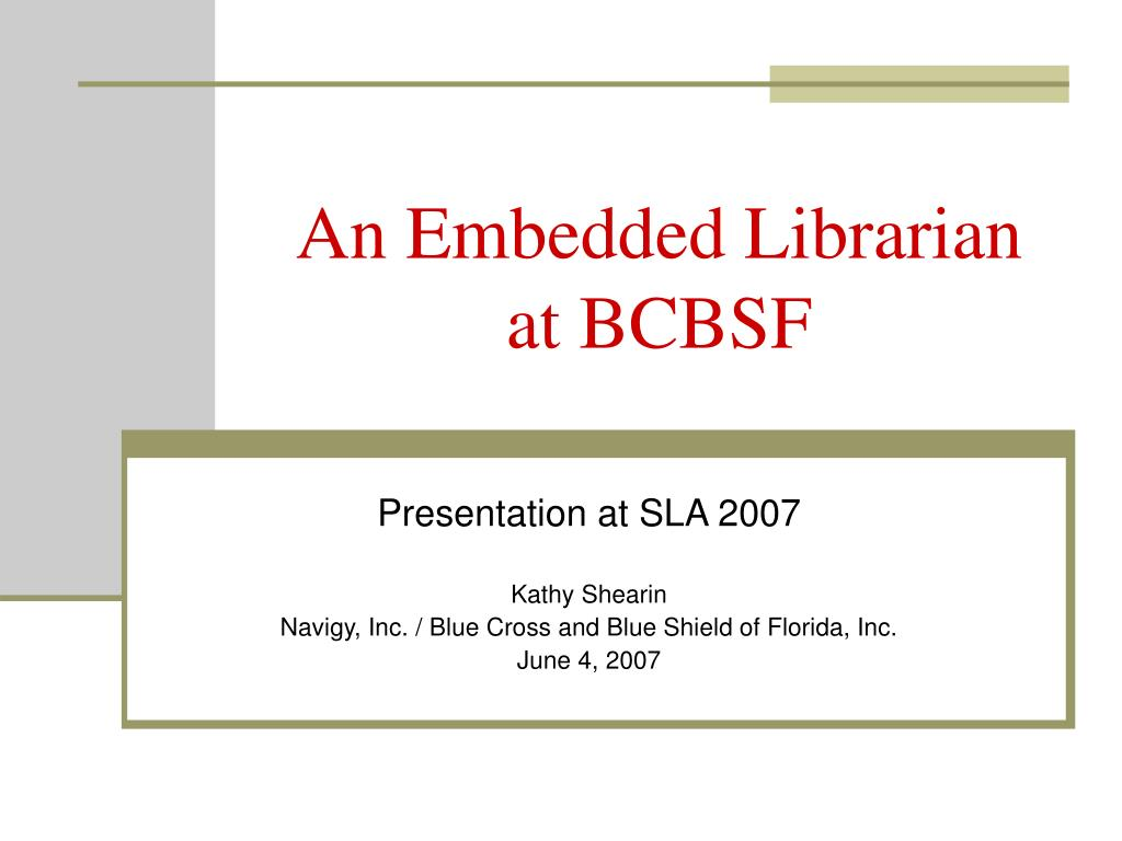 an embedded librarian at bcbsf l.