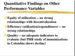 quantitative findings on other performance variables