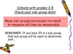schools with grades 3 8 check your sub group data