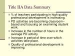 title iia data summary