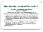 wa senate journal example 1