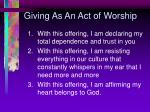 giving as an act of worship