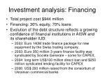 investment analysis financing