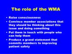 the role of the wma