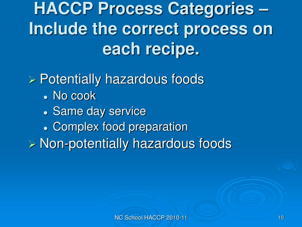 HACCP Process Categories – Include the correct process on each recipe.
