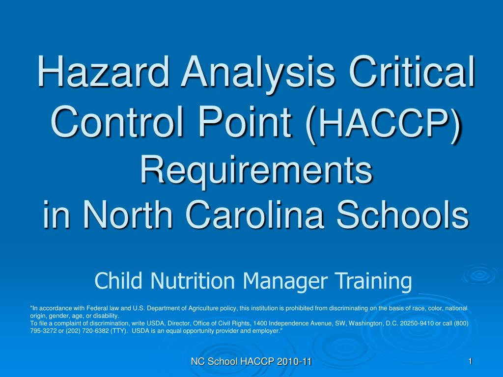 hazard analysis critical control point haccp requirements in north carolina schools l.