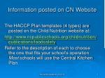 information posted on cn website