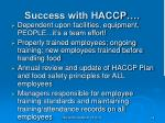 success with haccp