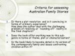 criteria for assessing australian family stories12