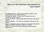 how are the families represented in each book