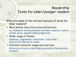 readership texts for older younger readers