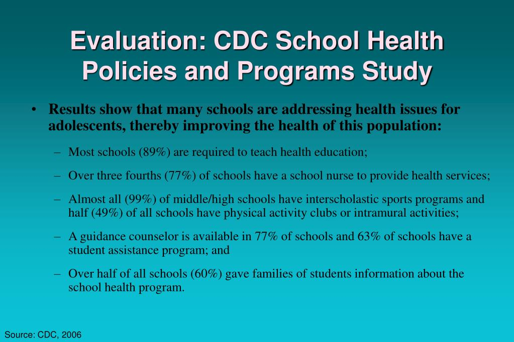 Evaluation: CDC School Health Policies and Programs Study