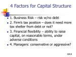 4 factors for capital structure
