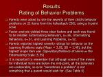 results rating of behavior problems