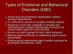 types of emotional and behavioral disorders ebd