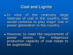 coal and lignite