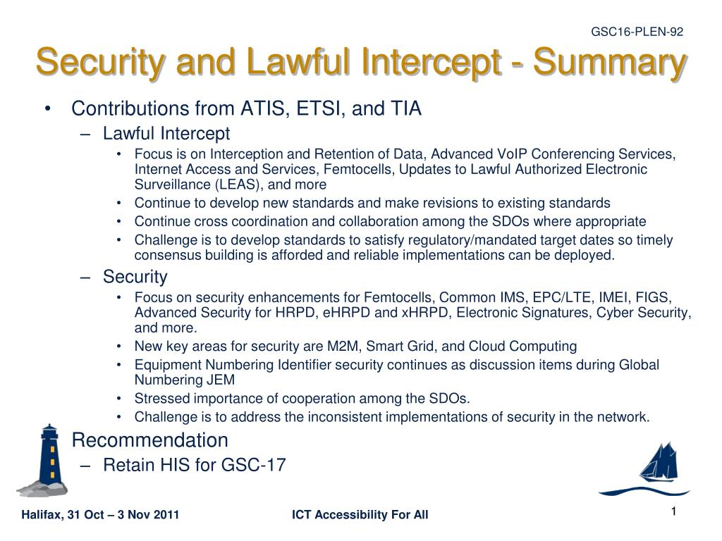 security and lawful intercept summary l.