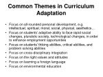 common themes in curriculum adaptation
