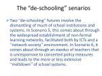the de schooling senarios
