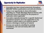 opportunity for replication