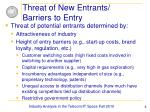 threat of new entrants barriers to entry