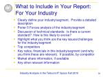 what to include in your report for your industry