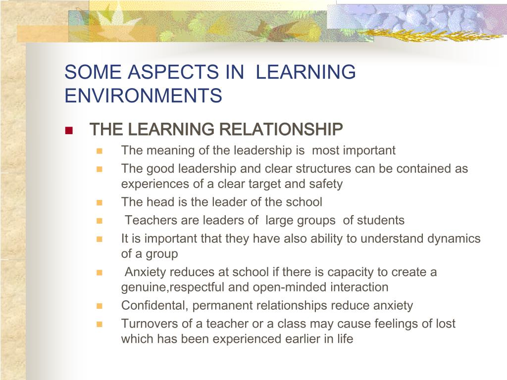 SOME ASPECTS IN  LEARNING ENVIRONMENTS