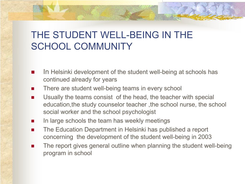 THE STUDENT WELL-BEING IN THE SCHOOL COMMUNITY
