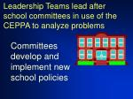 leadership teams lead after school committees in use of the ceppa to analyze problems