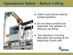 operational safety before lifting