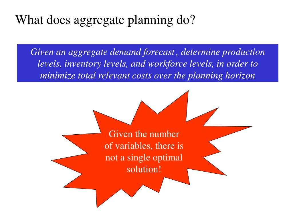 What does aggregate planning do?