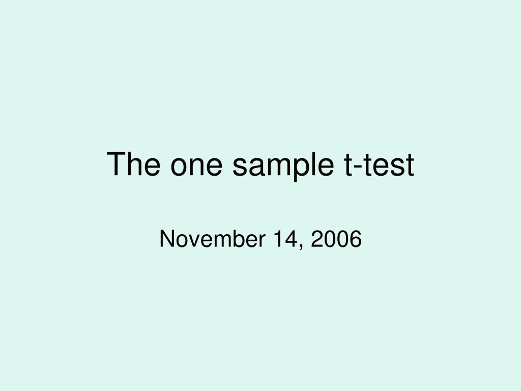 the one sample t test l.