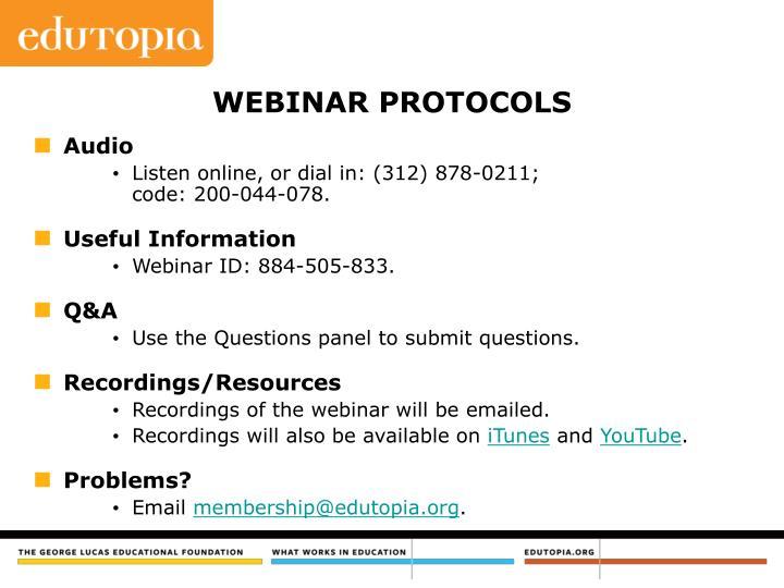 Webinar protocols