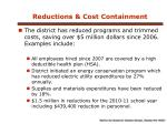 reductions cost containment