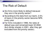 the risk of default